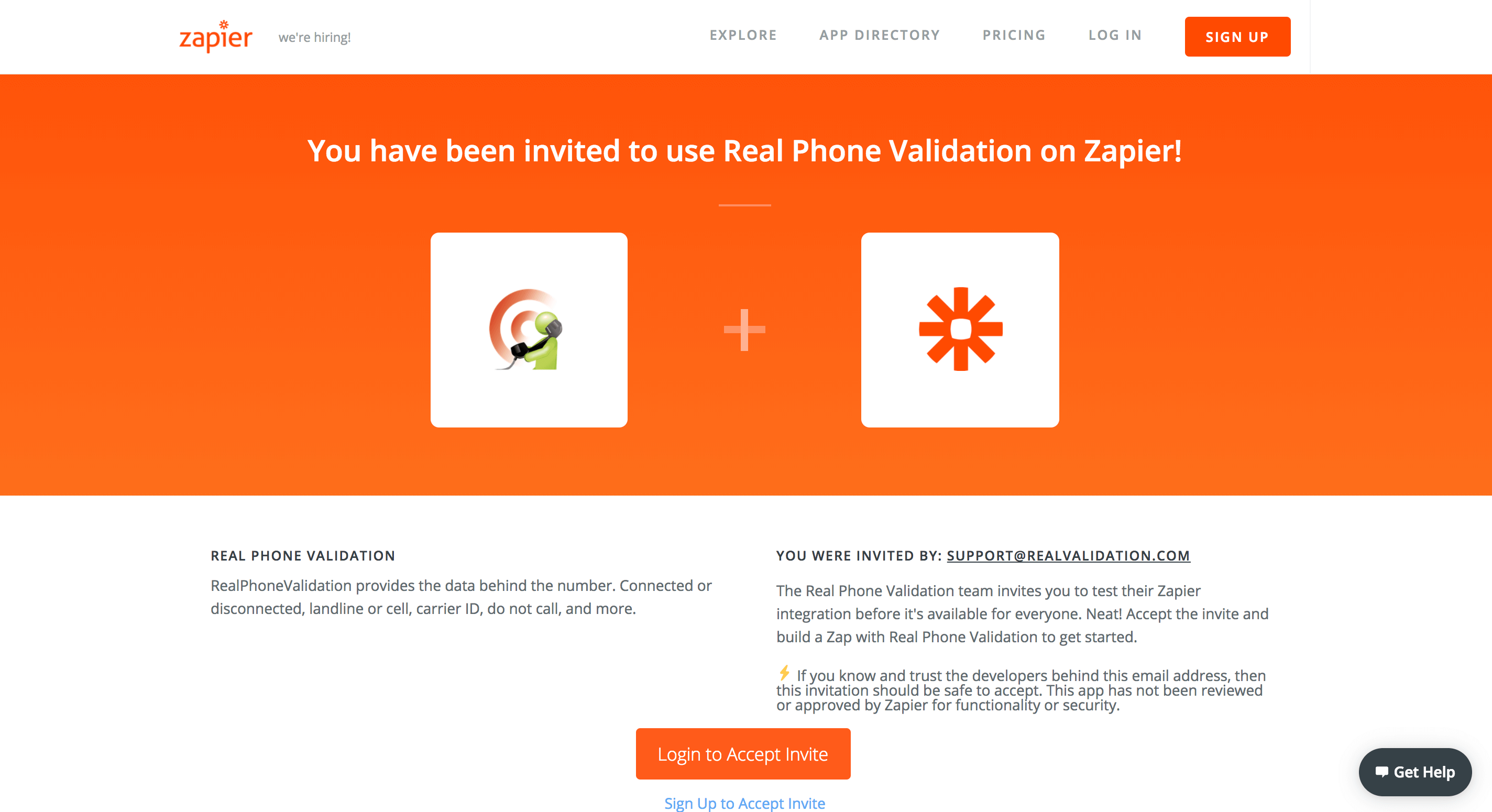 Zapier Phone Validation Zap - RealPhoneValidation™