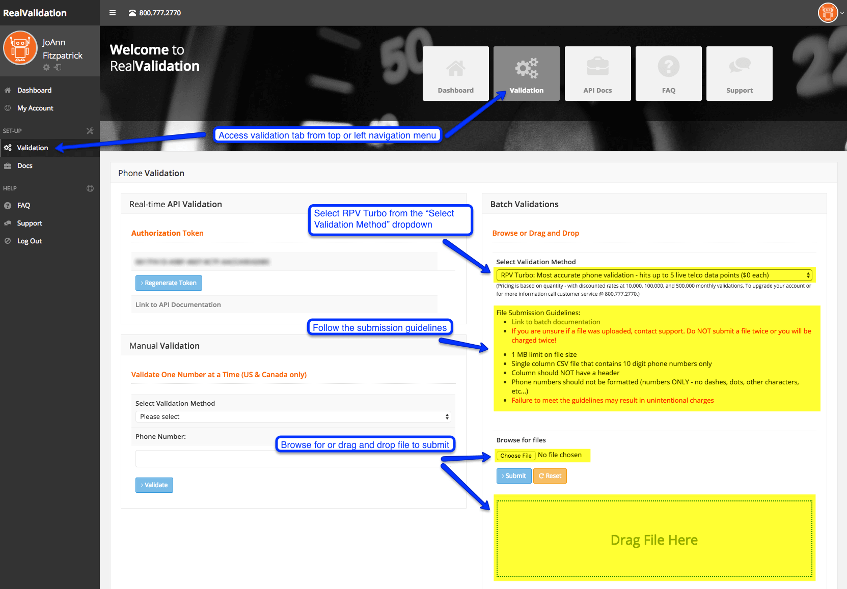 How to use phone validation tool